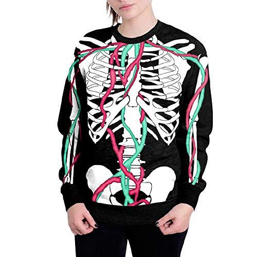 kaifongfu Halloween Women's Long Sleeve Round Collar Sweatshirt 6D Printing Pullover Top(Black A,M) -