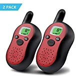 DBNICE Walkie Talkies for kids, Walkie Talkies 22 Channels Two Way Radio Up to 3 Miles Longe Range Handheld Mini Walkie Talkie with LCD Screen, Best Gift Toys for Boys and Girls, 2 Pack, Red