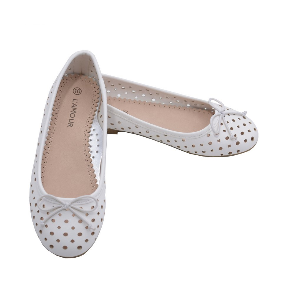 LAmour Little Big Kids Girls White Perforated Bow Ballet Flats 11-4 Kids