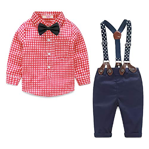 Toddler Boys Winter Outfits Suit Infant Cloth Newborn Baby Gentleman Plaid Shirt+Bow Tie+Suspender Pants Set (2-2.5 Years, Red)