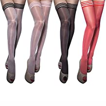 Women's Antiskid Silicone Lace Top Thigh High Silk Stockings (4 Pairs)