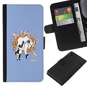 YiPhone /// Tirón de la caja Cartera de cuero con ranuras para tarjetas - Gorila & Shark Explosión - Sony Xperia Z2 D6502