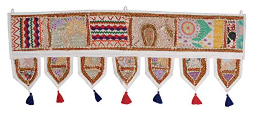 Patchwork Hanging (Wall Tapestry Window Treatments Valance Door Toran 39 x 16 Inch)