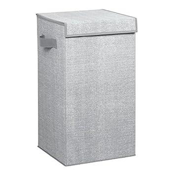 Cesta para ropa sucia con tapa Ideal como bolsa para guardar ropa durante viajes Port/átil Pl/ástico mDesign Cubo de ropa para lavado color gris Cesto plegable para colada con asas