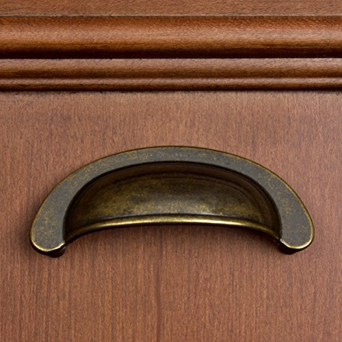GlideRite Hardware 87600-AB-25 2.5 inch Cc Small Antique Brass Cabinet Cup Bin Pulls 25 Pack by GlideRite Hardware (Image #3)