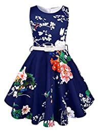 50s Vintage Swing Girls Dresses for Casual Party Audrey Hepburn Retro Dresses for Girls