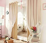 Home Cal Mix & Match Tulle Sheer Lace & Blackout Curtain Set - Mute Grommet Top - Wheat - 50'' W X 84'' L - (2 Curtains and 2 Sheer curtains)