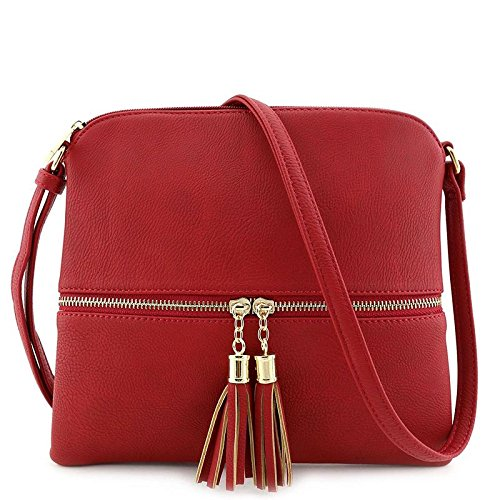 (Lightweight Medium Crossbody Bag with Tassel Red)