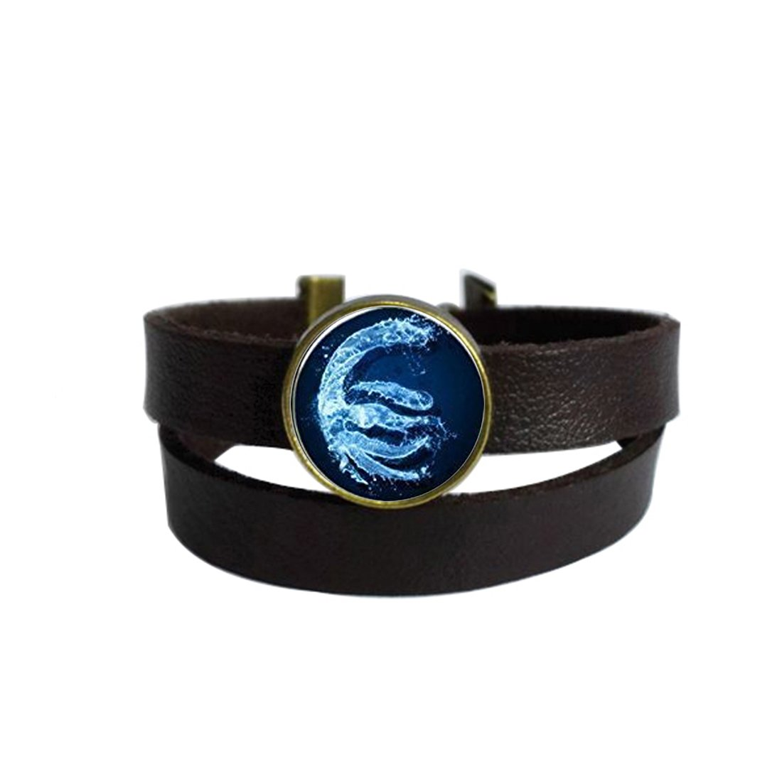 LooPoP Vintage Punk Dark Brown Leather Bracelet Fire Nations Symbol Belt Wrap Cuff Bangle Adjustable