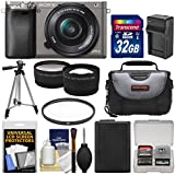 Sony Alpha A6000 Wi-Fi Digital Camera & 16-50mm Lens (Graphite) 32GB Card + Case + Battery/Charger + Tripod + Filter + Tele/Wide Lens Kit