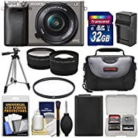 Sony Alpha A6000 Wi-Fi Digital Camera & 16-50mm Lens (Graphite) with 32GB Card + Case + Battery/Charger + Tripod + Filter + Tele/Wide Lens Kit