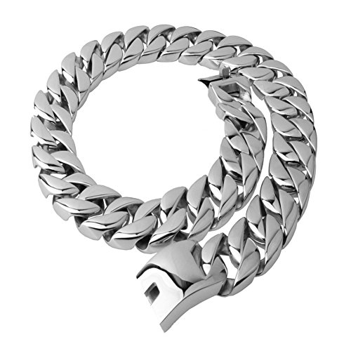 Mens Stainless Steel 31MM Large Heavy Charm Hip Hop Silver Tone Cuban Curb Chain Link Necklace (26) by W&W Lifetime