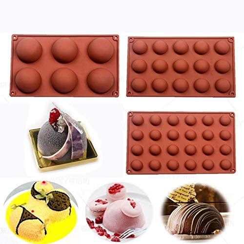 BAKER DEPOT Bakeware Set Silicone Mold for Cake Decoration Jelly Pudding Candy Chocolate 6 Holes semicircle 15 Holes semicircle 24 Holes semicircle Each Design 1pc Brown Color, Set of 3 by BAKER DEPOT (Image #3)