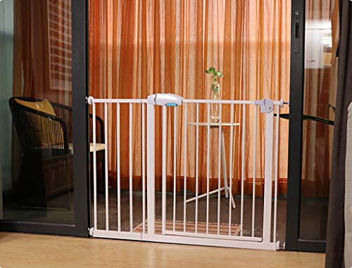 White Safety Pet Gate with Door | Fits Spaces 39-42 Inch | Metal Walk Through Safety Gate | Double Locking Swing Door
