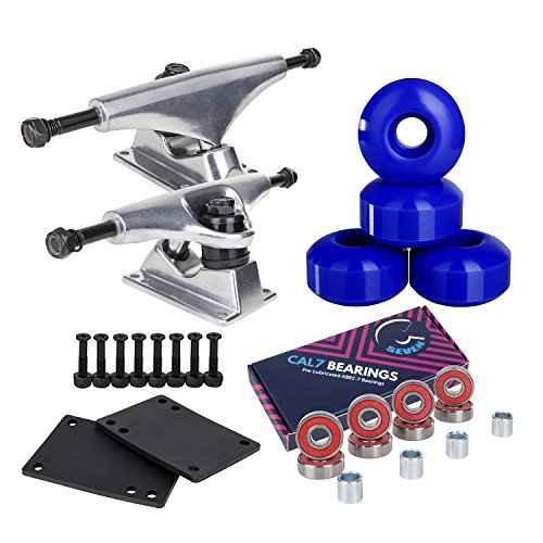 Cal 7 5.0 inch Skateboard Trucks, 52mm Wheels, Plus Bearings Combo Set (Silver Truck with Blue Wheels) by Cal 7