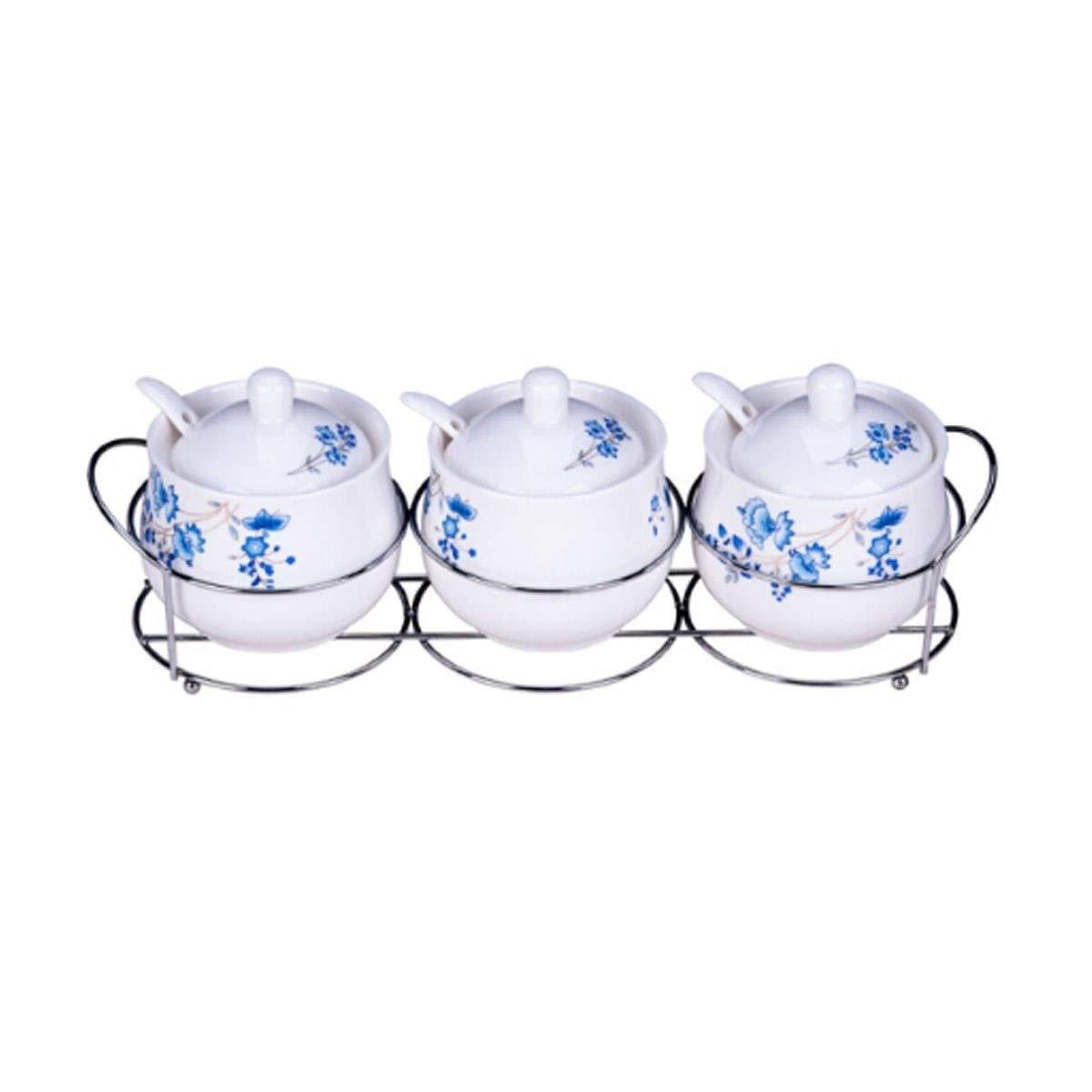 MINGRUIGONGMAO Spice Jar, Ceramic Seasoning Jar, Three-piece Set Garden Floral Seasoning Box, Set Seasoning Box Plush toys (Size : Multi-colored) by MINGRUIGONGMAO