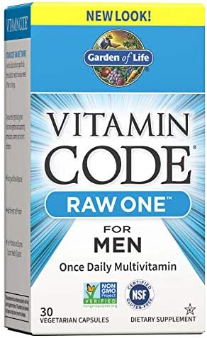 Garden of Life Vitamin Code Raw One for Men, Once Daily Multivitamin for Men, One a Day Mens Vitamins for Energy, Stress Response, Healthy Heart, Prostate, 30 Vegetarian Capsules (Packaging May Vary)