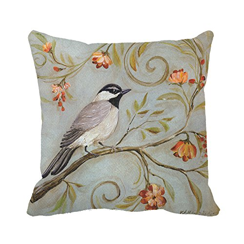 Poppylife Chickadees Modern Pillow Throw Pillowcase Cushion Cover