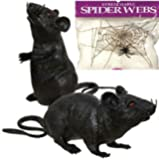 Bundle: 3 Items - Pack of 2 Black Plastic Squeezable Squeaking Rats Spooky Scary Creepy Halloween Decor and FREE Pack of Spider Web (Comes with Free How to Live Stress Free Ebook)