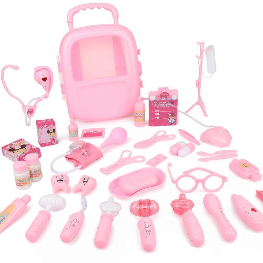 Mzl Kinder zuhause Arzt Simulation Arzt zuhause Werkzeug Spielzeug Set Mädchen 3-6 jährige medizinische Spielzeug Boy Blau Rosa (27 teiliges Set) 182e36