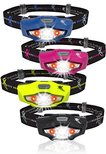 LED Headlamp - Very Bright, Light & Waterproof - 4 White & 2 Red Light Settings - Only 1 Battery - Best Headlamps for Running, Camping, Reading, DIY & Emergencies - 4 Colors Available (Midnight Blue)