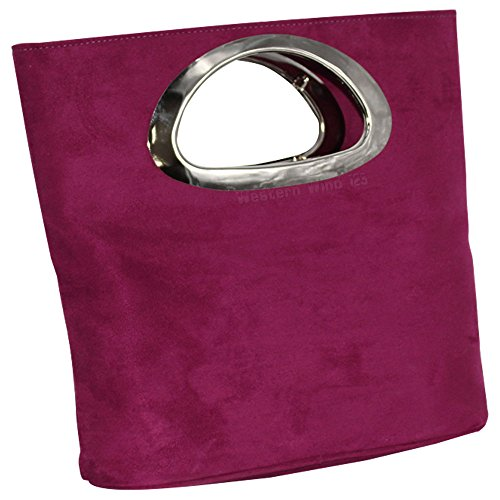 Leather Clutch Ivory Purple Black Suede Red Italian White Ladies Foldable Bag Plain Real Tote Grey Evening Womens Wocharm Top Handle Bag wRqfa0za