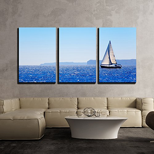 wall26 - 3 Piece Canvas Wall Art - Blue Mediterranean Sailboat Sailing in Perfect Ocean at San Antonio Cape - Modern Home Decor Stretched and Framed Ready to Hang - 16