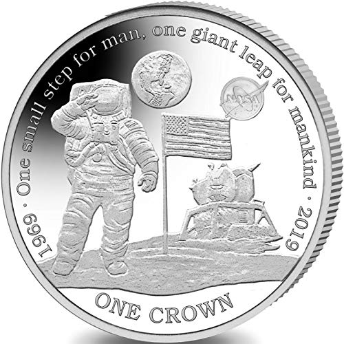 FIRST MAN ON MOON COIN - 50th Anniversary of Apollo 11 - STERLING SILVER PROOF COIN with NASA logo in Box with Certificate of Authenticity - 2019 Ascension Island 1 Crown - SMALL MINTAGE OF ONLY 5000 PIECES