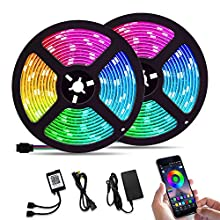 Bluetooth Music Sync 32.8ft LED Lights Strip 12V Cuttable Color Changing Rope Tape Lighting SMD 5050 LEDs Remote Controller Kit