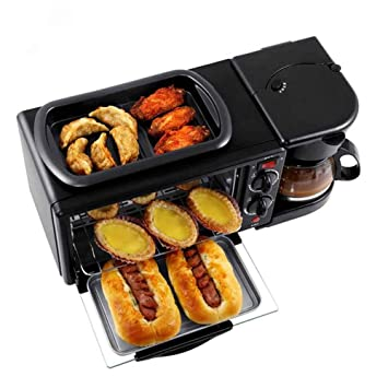 ZQYY®Horno Eléctrico Multifunción,Tostadora,Máquina de Café,Sartén,1050W 9L Tres en Uno Mini Máquina de Desayuno: Amazon.es: Hogar