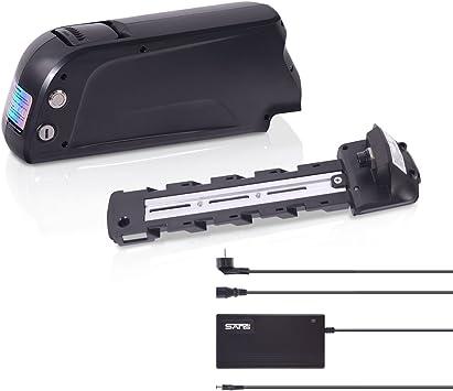 Batería con soporte para montaje en bicicleta eléctrica Pedelec de DeHawk, batería de iones de litio de 36 V o 48 V con cargador, BKD43614PB, Negro: Amazon.es: Deportes y aire libre