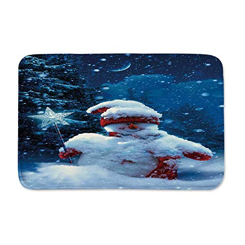 YOLIYANA Christmas Anti Slip Rubber Back Doormat,Snowman with Magic Wand and Fir Branches Covered with Snow Winter Night Decorative for Living Room,23