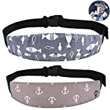 2 Pcs Baby Car Seat Head Support Band Strap for Car Seats Stroller Headrest Sleeping Neck Relief Head Strap for Toddler Child Kids Infant(Grey)
