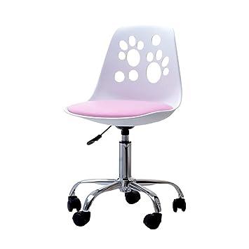 Selsey Foot Schreibtischstuhl Kinderstuhl höhenverstellbar mit Rollen und Drehfunktion WeißRosa