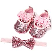 LIVEBOX Baby Infant Girls Shoes, Soft Sole Prewalker Mary Jane Princess Dress Crib Shoes with Free Baby Headband for Attend Wedding Birthday Party Events (Pink, L)