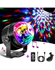 Disco Lights, OMERIL Sound Activated Disco Ball Lights with 4M/13ft USB Power Cable, 3W RGB Party Lights with Remote Control for Kids Birthday, Family Gathering, Christmas Party, Home-USB Powered