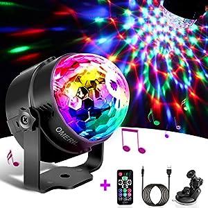 51Pn0z q5CL. SS300  - Techole Discokugel LED Party Lampe Musikgesteuert Disco Lichteffekte Discolicht mit 4M USB Kabel, 7 Farbe RGB 360° Drehbares Partylicht mit Fernbedienung für Weihnachten, Kinder, Kinderzimmer, Party