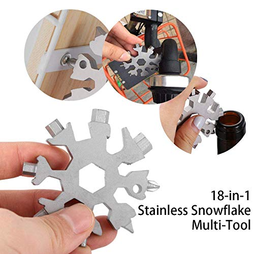 Vaughenda 18-in-1 Stainless Steel Multitools Snowflake Keychain Tool, Portable Multi-Tool Card Combination Multifunction EDC Keychain/Bottle Opener/Screwdriver /Pendant/Mens Gift