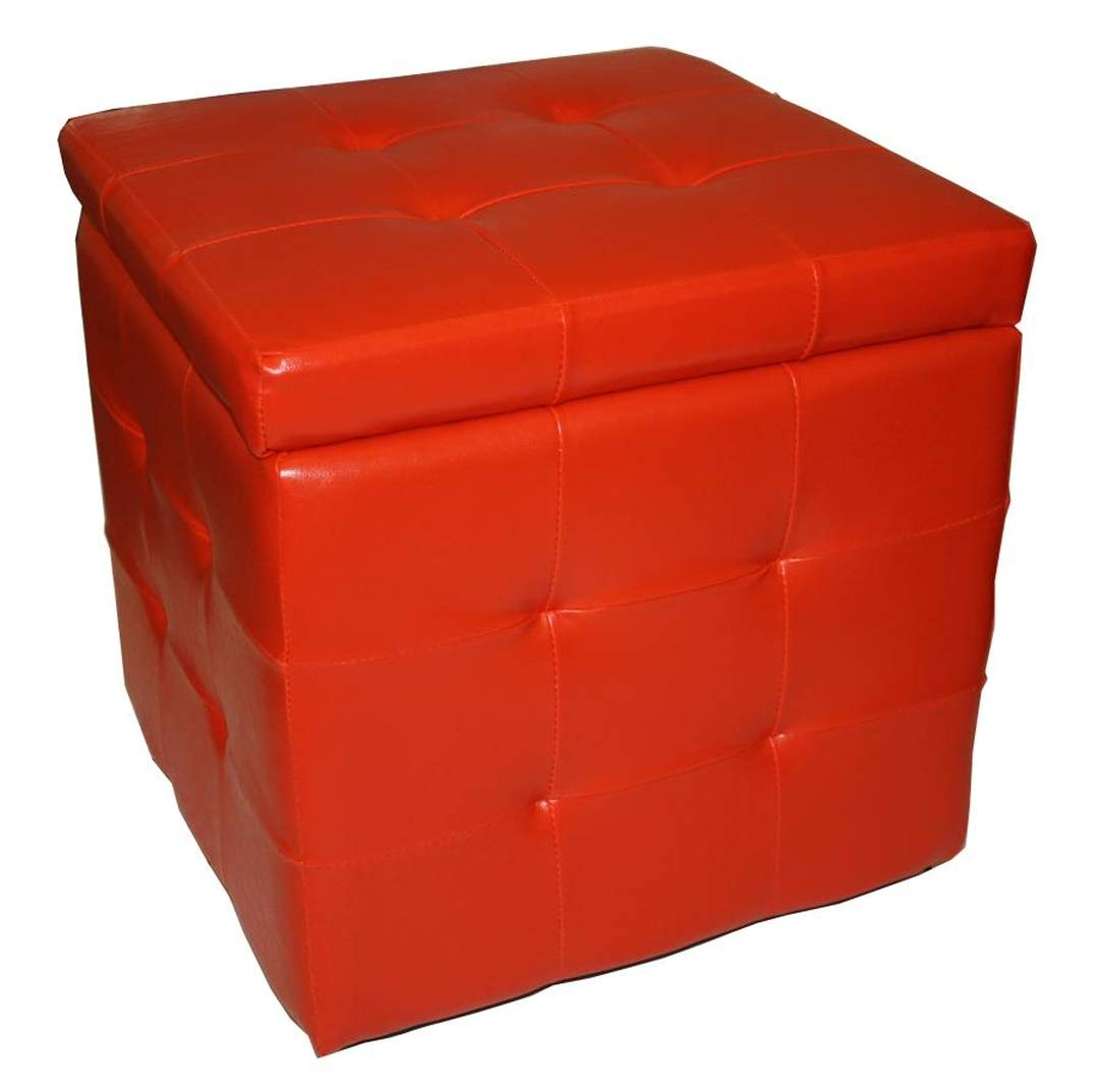 Evergreen-House Pouf Contenitore In Ecopelle Rossa Singolo Rosso 66 x 89 cm Evergreen House PF45R_Rosso-66x89