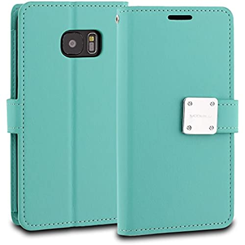 Galaxy S7 Case, ModeBlu [Mode Diary Series] [Mint] Wallet Case ID Credit Card Cash Slots Premium Synthetic Leather Sales