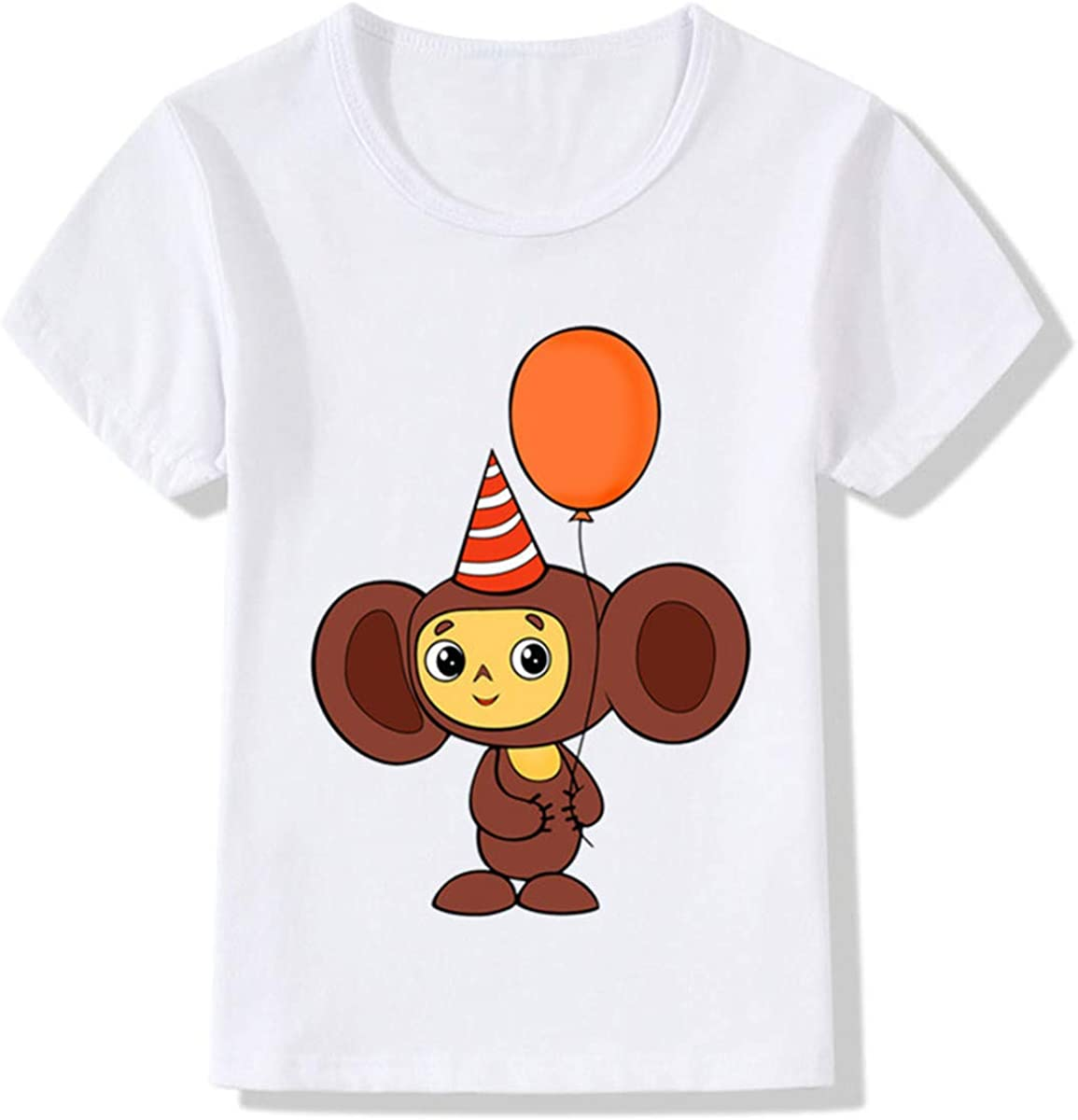 GD-Clothes Monkey Summer Short Sleeves Shirts Toddlers Cotton Print T-Shirts