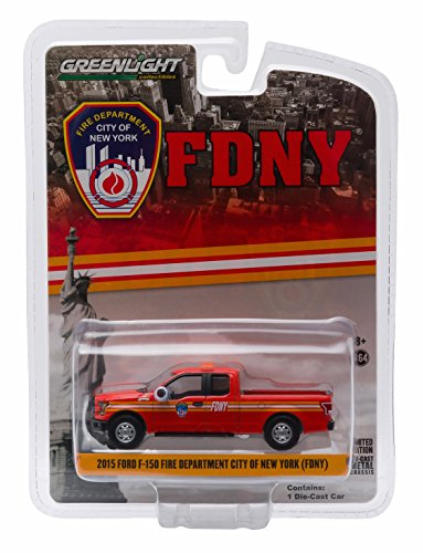 2015 FORD F-150 FIRE DEPARTMENT CITY OF NEW YORK (FDNY) Hobby Exclusive 2015 Greenlight Collectibles Limited Edition 1:64 Scale Die-Cast Vehicle