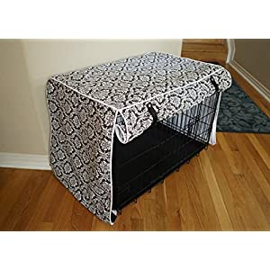 """Designer Brown Damask Dog Pet Wire Kennel Crate Cage House Cover (Small, Medium, Large, XL, XXL) (MEDIUM 30x21x24"""")"""