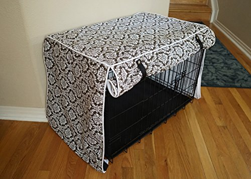 Designer Brown Damask Dog Pet Wire Kennel Crate Cage House Cover (Small, Medium, Large, XL, XXL) (SMALL 24x18x21')