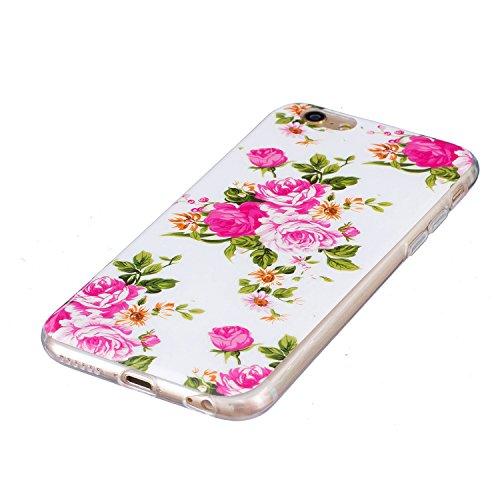 Custodia iPhone 6 Plus / 6S Plus , LH Peonia Fluorescenza Silicone Morbido TPU Case Cover Custodie per Apple iPhone 6 Plus / 6S Plus 5.5