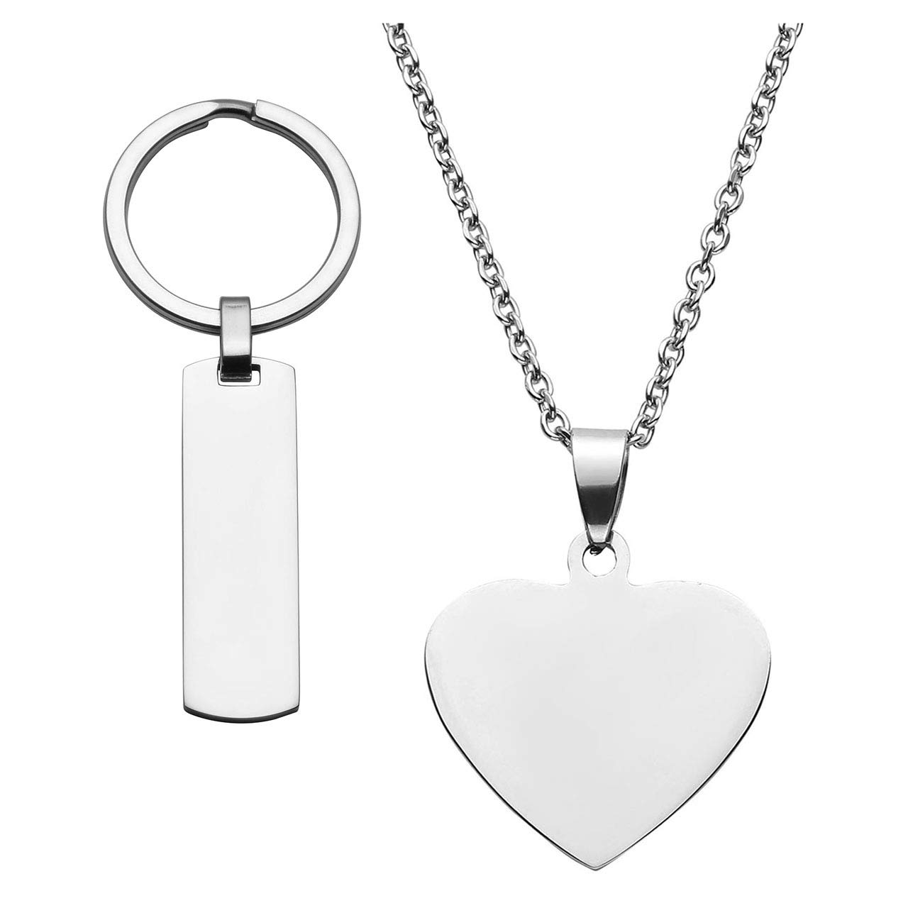 PiercingJ Personalized Custom Engraved Name Gold Silver Stainless Steel Dog Tag ID Keychain Key Ring + Heart Shape Pendant Necklace Chain for Couple Lovers Family