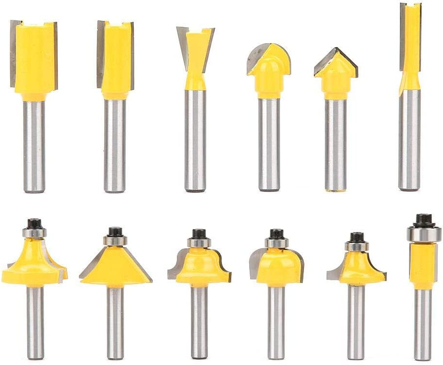 Carbon Steel Yellow Woodworking Milling 1//4 Shank Slotting Router Bit Set for Professional Woodworking 12Pcs 1//4 Inch Shank Router Bits