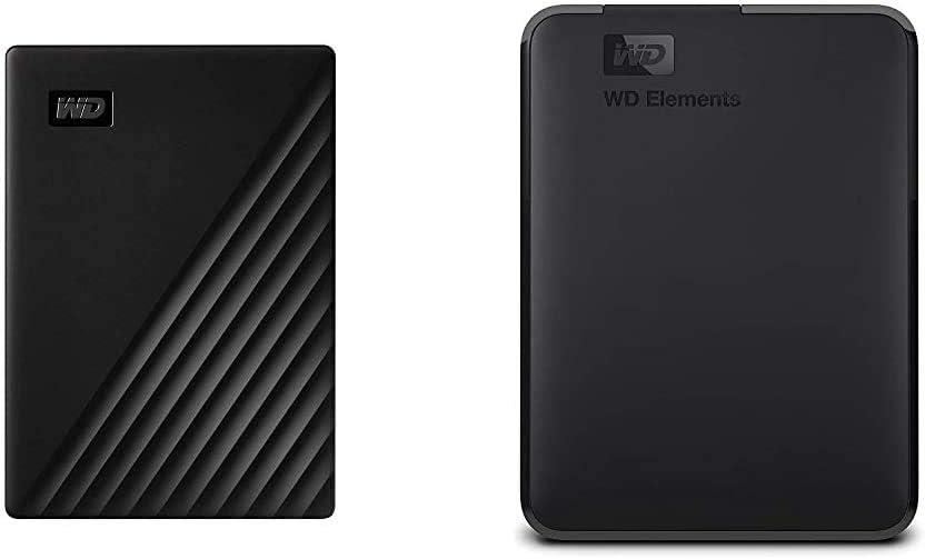 WD 1TB My Passport Portable External Hard Drive, Black - WDBYVG0010BBK-WESN & 2TB WD Elements Portable External Hard Drive, USB 3.0 - WDBU6Y0020BBK-WESN