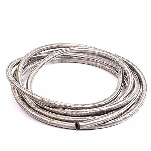 04 Gas Hose (8AN 10 Ft Universal Premium Braided Stainless Steel Fuel Line Filler Feed Hose Ends Kit,Silver)