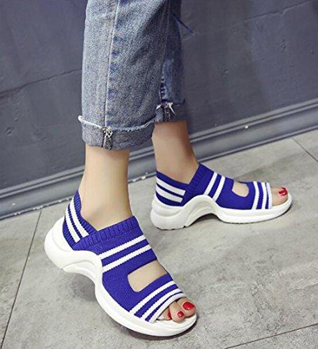 Trekking Donna Blue Casual Sandali Sport Knitted Platform All'aria Aperta Sneakers Da TWGDH Scarpe Stripes Summer qOwSttA